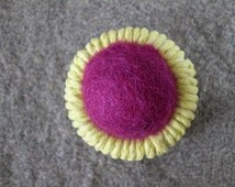 Yellow and Red Purple Ring Button Dorset Button Felt Button
