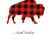 North Dakota Love Jet Black and Apple Red Buffalo Plaid Two Color Screenprint