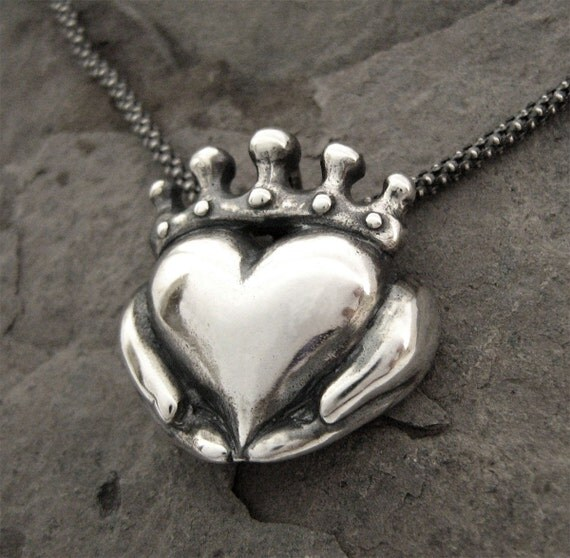 Claddagh Necklace - NEW Antique finish - Solid Sterling Silver - Chain Included - Celtic - Irish Promise - Love - Faith - Rickson Jewellery