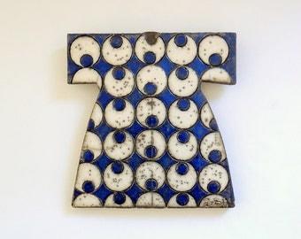 Raku Fired Cobalt Blue Ceramic Caftan with Cintemani