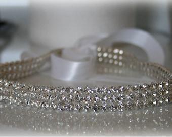 Rhinestone Ribbon Headband, SPARKLE- Wedding Headpiece, Rhinestone, Crystal, Accessories, Bridal, Wedding, Hair Accessory