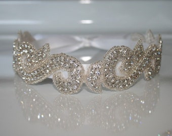 Jeweled Bridal Headband on a Satin Ribbon Tie