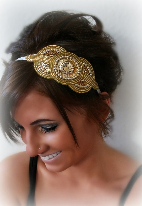 Gold Art Deco Beaded Sequin Headband