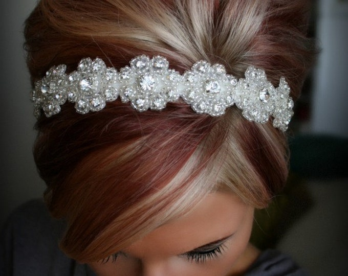 Bridal headband, rhinestone headband, LILLY, bridal hair piece, wedding headband, wedding hair piece, ribbon, bridal