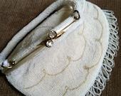 Seed Pearl vintage Wedding  Purse. Rhinestone closers  Custom made in Belgium.