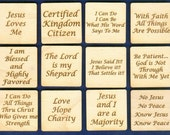 Laser Cut Wooden Inspirational Refrigerator Magnets (Set of 12) (MG-114)