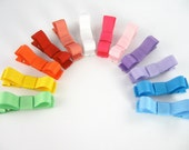 Barrettes For Babies - Rainbow Set of 12 Tuxedo Bow Alligator No Slip Hair Clips - Bright Colors Baby Toddler Girls CUSTOM COLORS Available