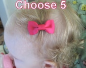 PICK 5 - Infant Hair Clips - baby hair clips - baby hair bows - small hair bows - newborn hair clips - newborn hair bows - Pinched bows MP