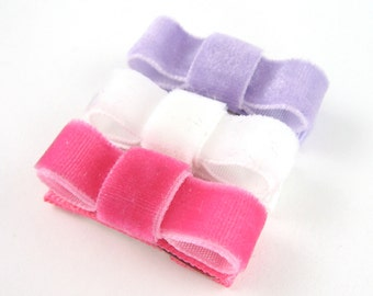 Velvet Hair Clips - Small Baby Newborn to Toddler Non Slip Grip Mini Snap Clips - Hot pink White Lavender