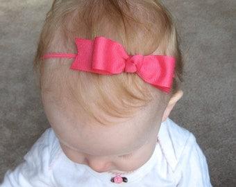 Shocking Pink Bow Headband - Skinny Elastic Headband in Custom Sizes - Solid Bright Pink - Newborn Baby Toddler Girl