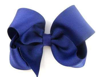 Dark Purple Hair Bow - Baby Toddler Girl - Solid Color 4 Inch Boutique Bow on Alligator Clip Barrette Janie and Jack Violet Meadow