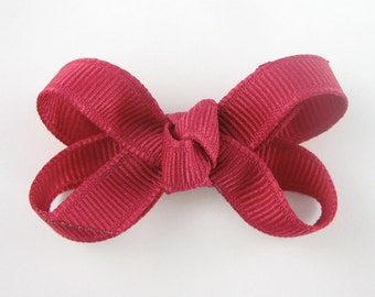Baby Hair Bow in Fuchsia - Extra Small Boutique Bow On Mini Snap Clip for Fine Hair Newborn to Toddler - Dark Pink Non Slip Barrette mm