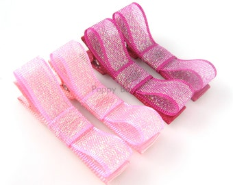 Baby Toddler Hair Clips - 2 Pairs in Pink Shimmers - No Slip Grip Alligator Barrettes in Fuchsia Light Pink