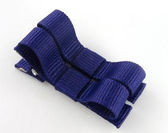 Dark Purple Hair Clips Basic Tuxedo Bow - Set of 2 - Matching Pair Alligator Barrettes for Babies Toddlers Girls Hartstrings