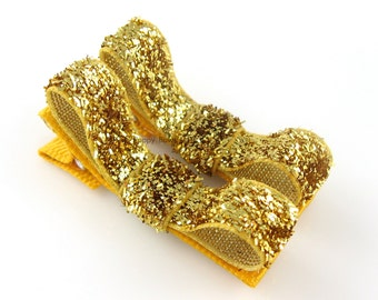 Gold Glitter Hair Clips - Toddler Hair Clips - Baby Hair Clips - No Slip Grip for Fine Hair Tuxedo Bow