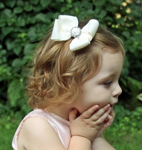 Flower Girl Hair Bow - ivory hair bow - cream hair bow - pearl rhinestone hair bow - flower girl hair accessories - 4 inch large hair bow