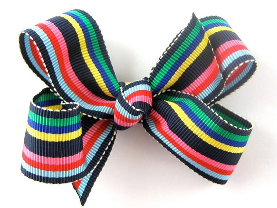Hair Bow for Girls - Navy Blue Colorful Striped 3 Inch Boutique Hair Bow - Grosgrain Hair Bow