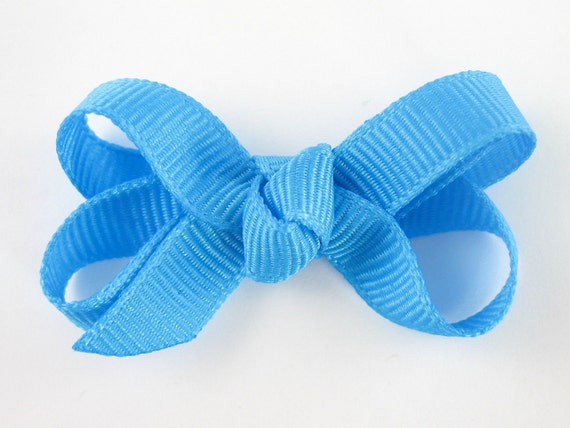 Baby Hair Bow in Island Blue - Extra Small Boutique Bow On Mini Snap Clip for Fine Hair Newborn to Toddler - Non Slip Barrette mm