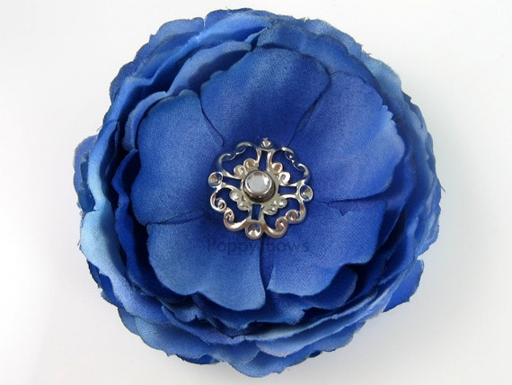 Silk Flower Hair Clip 3 Inch Royal Blue Ranunculus - Top Quality Alligator Clip For Babies Toddler Girls - Pink Rhinestone Center