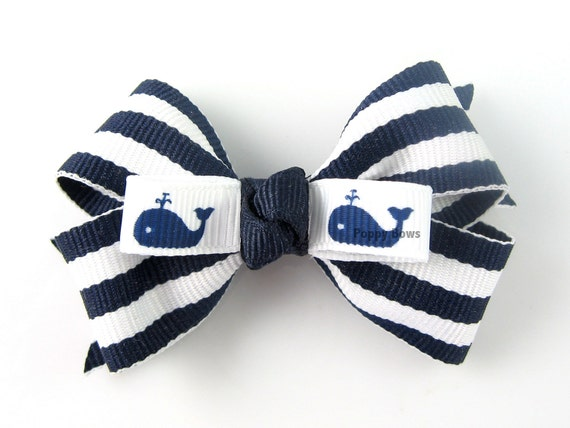 Navy Striped Hairbow - 2 and 1/2 Inch Nautical Hair Bow - Navy Blue and White Pinwheel Stripes Cute Whales
