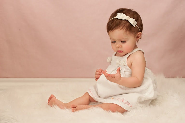 baby headband ivory headband toddler headband baptism. Black Bedroom Furniture Sets. Home Design Ideas