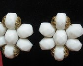 Vintage White Faceted Bead and Gold Cluster Earrings West Germany
