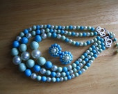 Vintage Multi Strand Turquoise, Green, Off White Bead Necklace and Earrings Set
