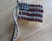 Rhinestone American Flag Pin Signed Dodds Doddz Vintage