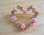 Avon Hearts & Roses Brooch Vintage