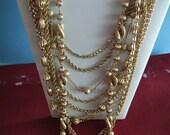 Napier Multi Strand Necklace Goldtone Vintage 9 Strands