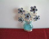 Avon Blue Brooch Vase and Flowers Vintage