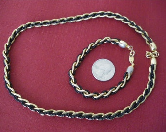 Trifari Necklace and Bracelet Set Gold and Black Vintage. free shipping