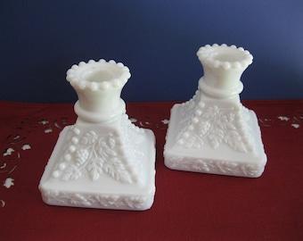 Milk Glass Candle Holders Westmoreland Beaded Grape Design Vintage Wedding