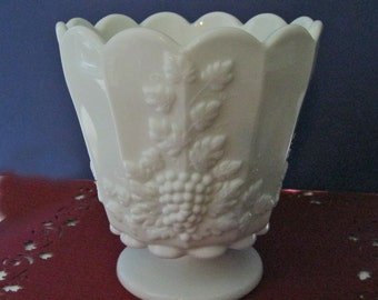 Westmoreland Paneled Grape Milk Glass Footed Flower Pot Jardiniere Vase Vintage