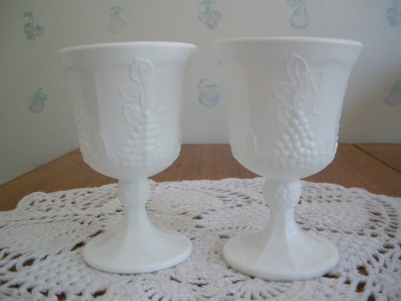 Milk Glass Water Goblets Wine Glasses Colony Indiana