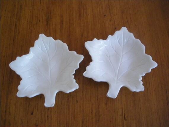 Vintage Milk Glass Leaf Dishes