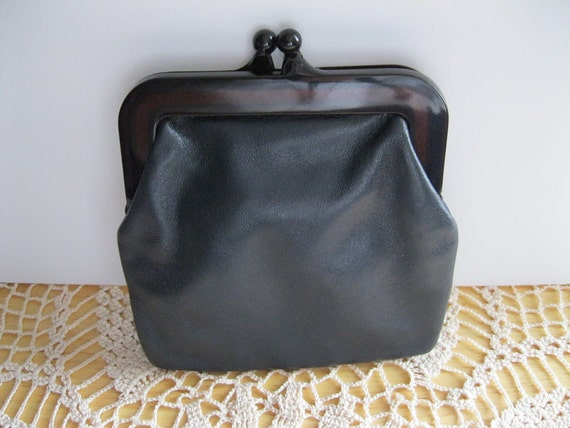 Navy Blue Italian Leather Change Purse Vintage