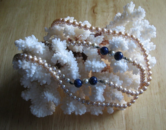 Imitation Pearl and Blue Bead Necklace Wedding Jewelry Vintage Richelieu
