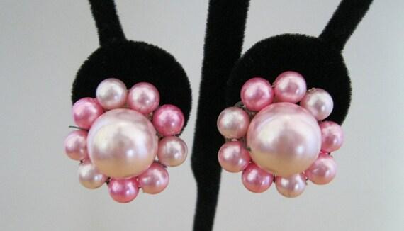 Pink Cluster Earrings Vintage Japan