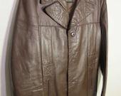 "Brown Leather Jacket size 40 - 1970's ""Fantastic International"""