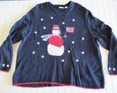 Patriotic snowman navy sweater size 2x