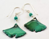 Enameled Gingko Leaf Earrings Green