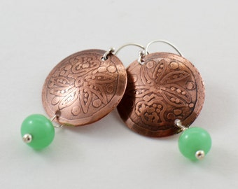 Etched Copper Earrings with Lampwork Beads