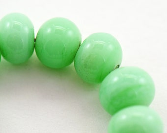Handmade Lampwork Beads Nile Green Set of 13