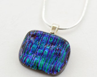 Dichroic Fused Glass Pendant Blue Green Pink
