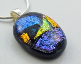 Dichroic Blue Orange Gold Black Fused Glass Pendant Necklace