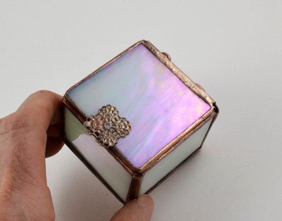 Stained Glass Box Hinged Lid Frosted Iridescent