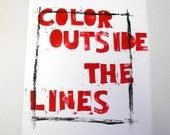 Color outside the lines, Lino letterpress print, 8X10 inches - TheLetterStudio