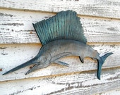Marlin Fish Ocean Wood Sign Fishing Beach Decor