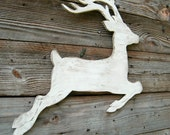 Reindeer White Christmas Wood Winter Holiday Deer Reindeer